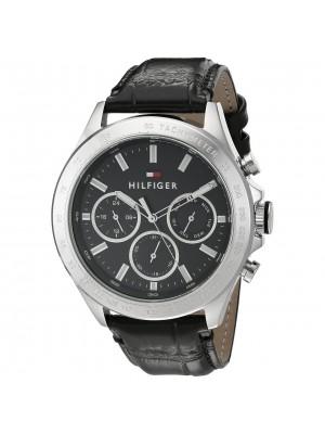 Tommy Hilfiger Black Dial Multifunction Watch & Black Leather Strap  for Men-TH1791224J