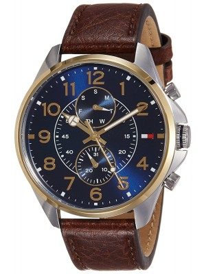 Tommy Hilfiger Blue Dial Multifunction Watch & Brown Leather Strap for Men-TH1791275J