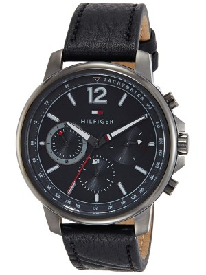 Tommy Hilfiger Grey Dial Multifunction Watch & Black Leather Strap for Men-TH1791533